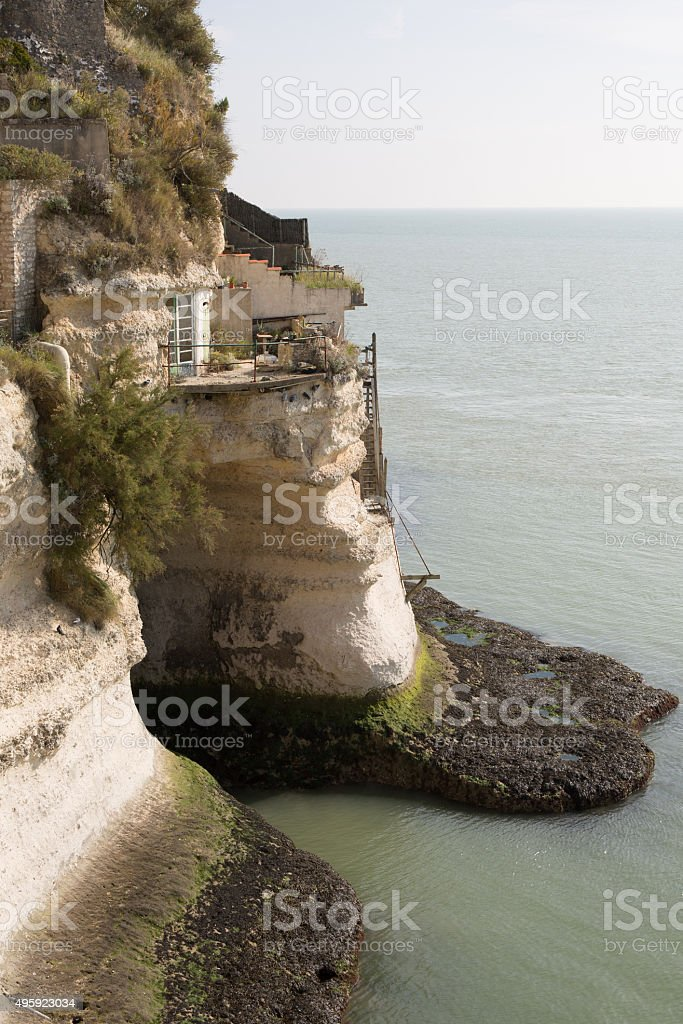 View from the Gironde estuary with the limestone cliff stock photo