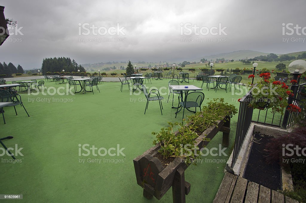 View from the golf house in a cloudy day, Asiago royalty-free stock photo
