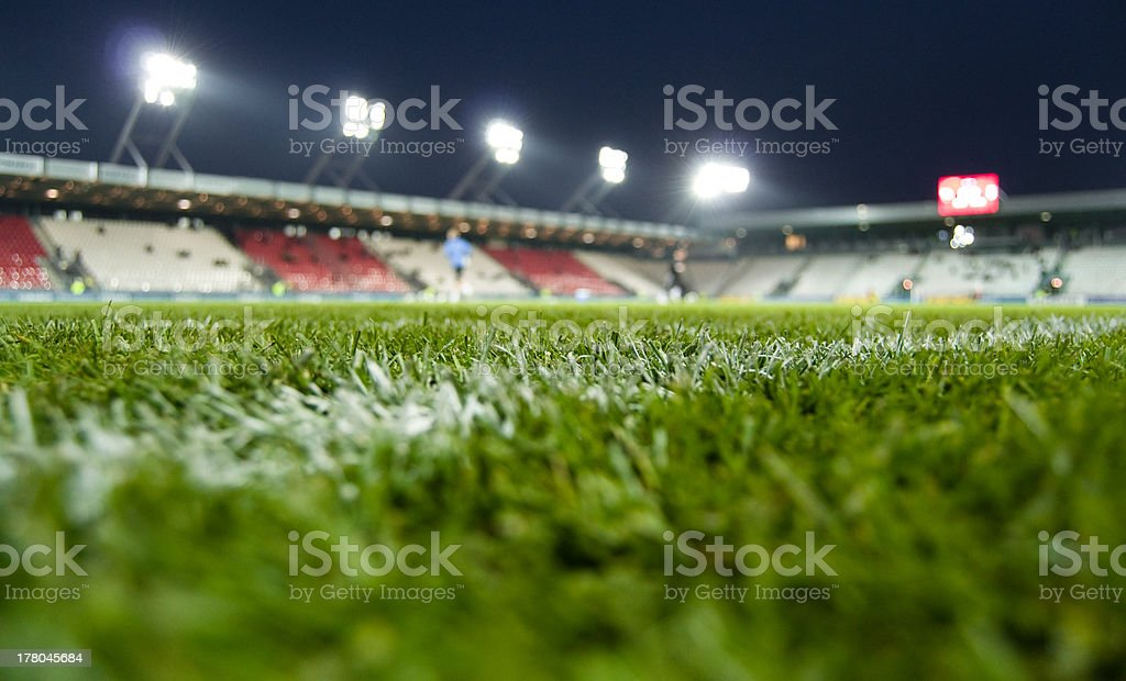 View from the grass of a stadium stock photo