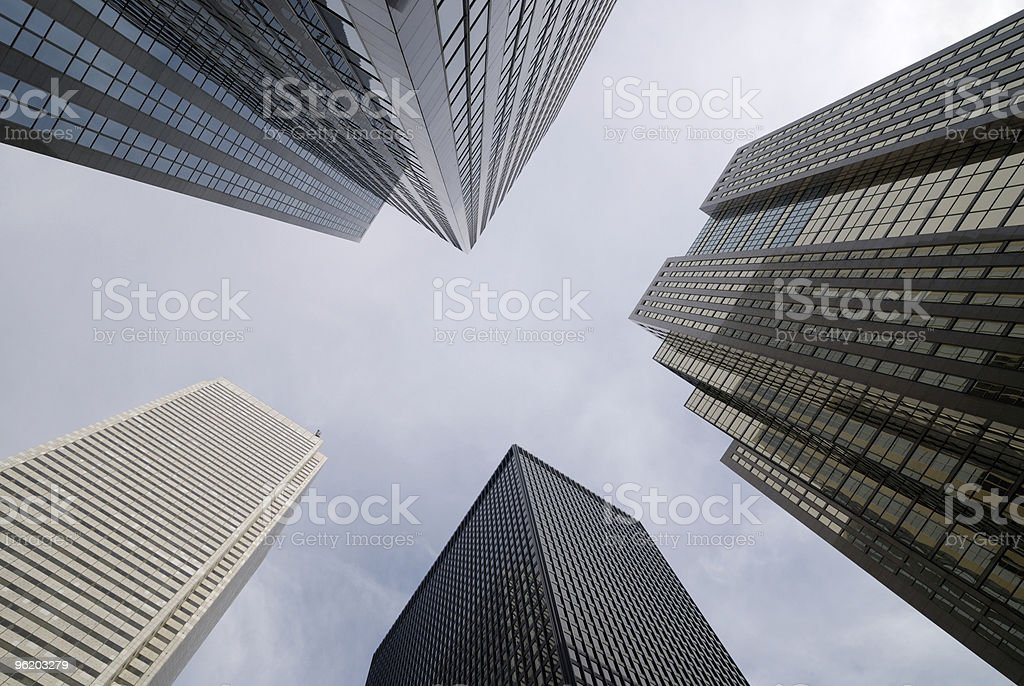 View from the ground looking up at skyscrapers royalty-free stock photo