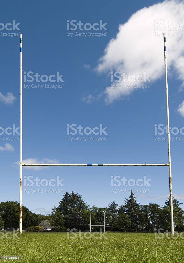 A view from the ground of rugby goal posts stock photo