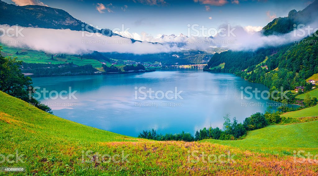 View from the hill on Lungerersee lake stock photo