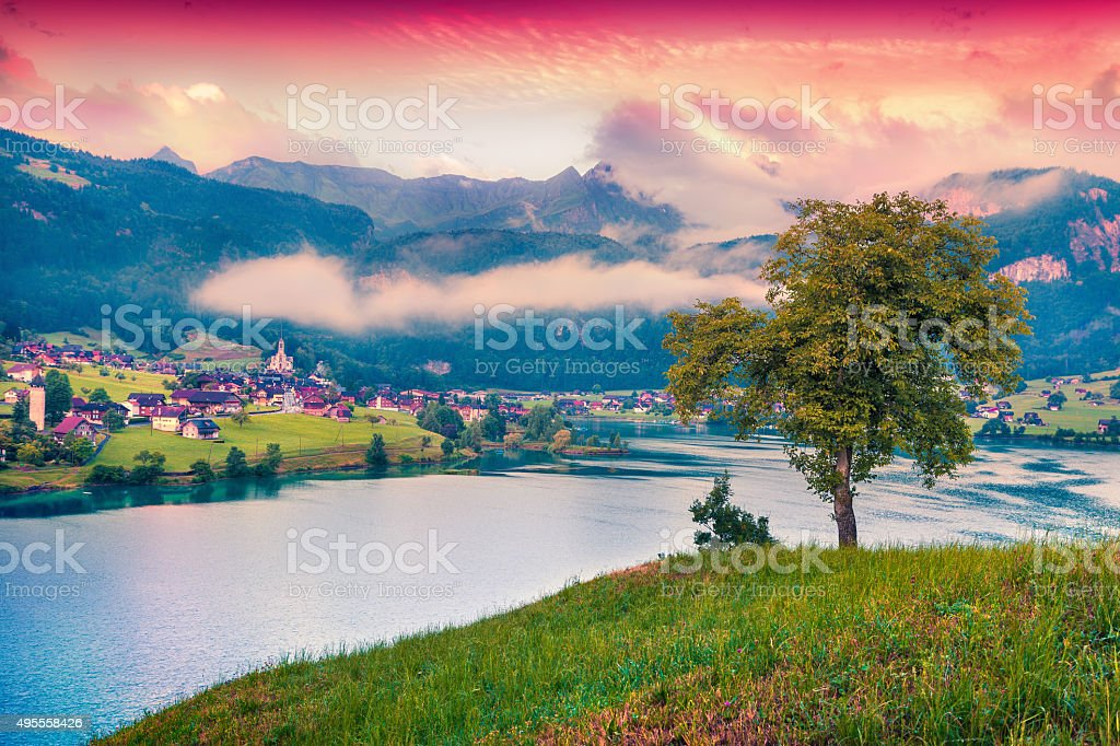 View from the hill on Lungerersee lake. stock photo