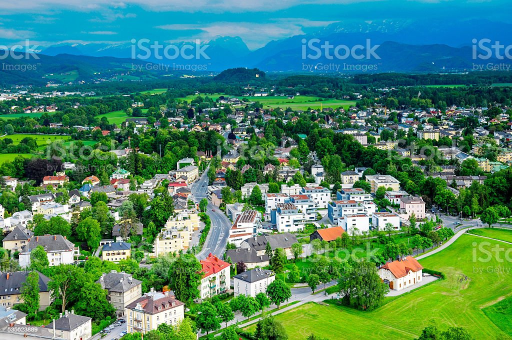 View from the Hohensalzburg Castle stock photo
