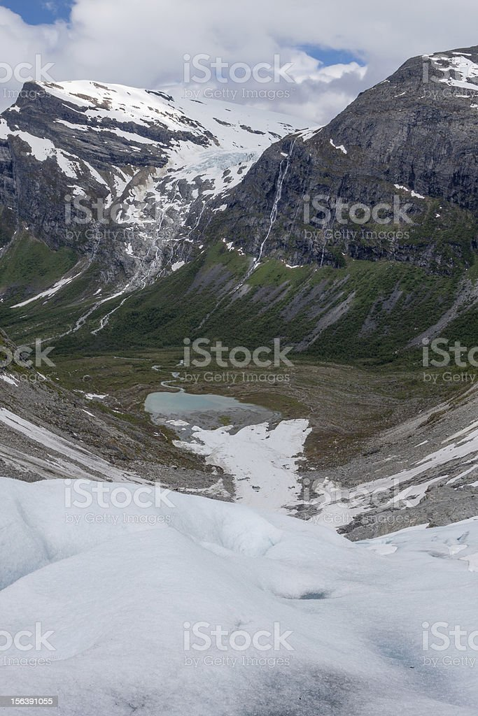 View from the ice of Bodalsbreen (Jostedalsbreen national park) royalty-free stock photo