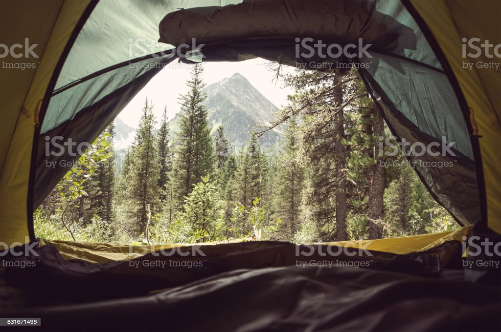 View from the Inside of Tent at High Altitude stock photo
