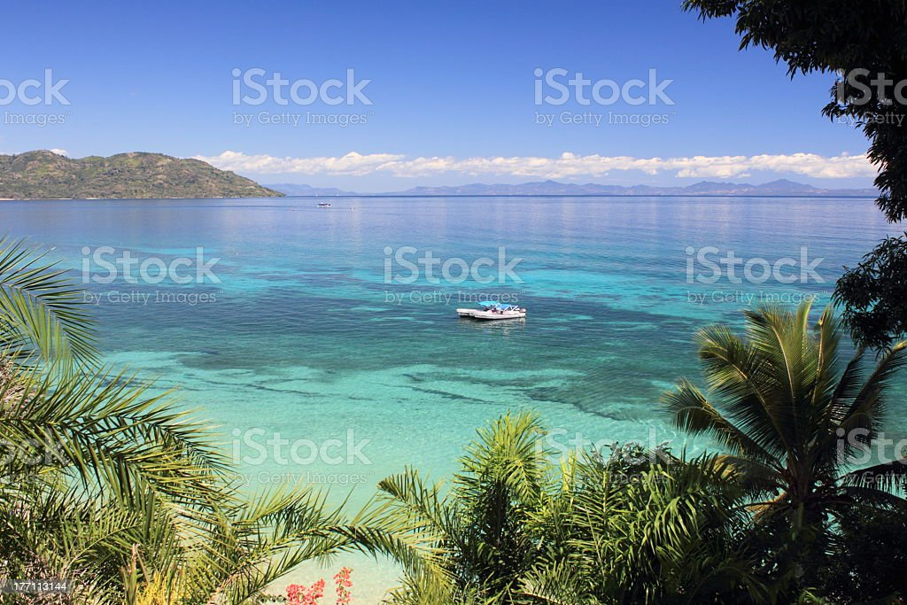 View from the jungle looking out onto a tropical bay  stock photo