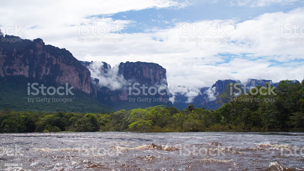 View from the Lake at Canaima National Park stock photo