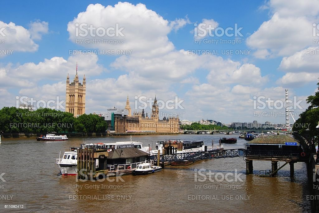 View from the Lambeth Bridge in London. stock photo