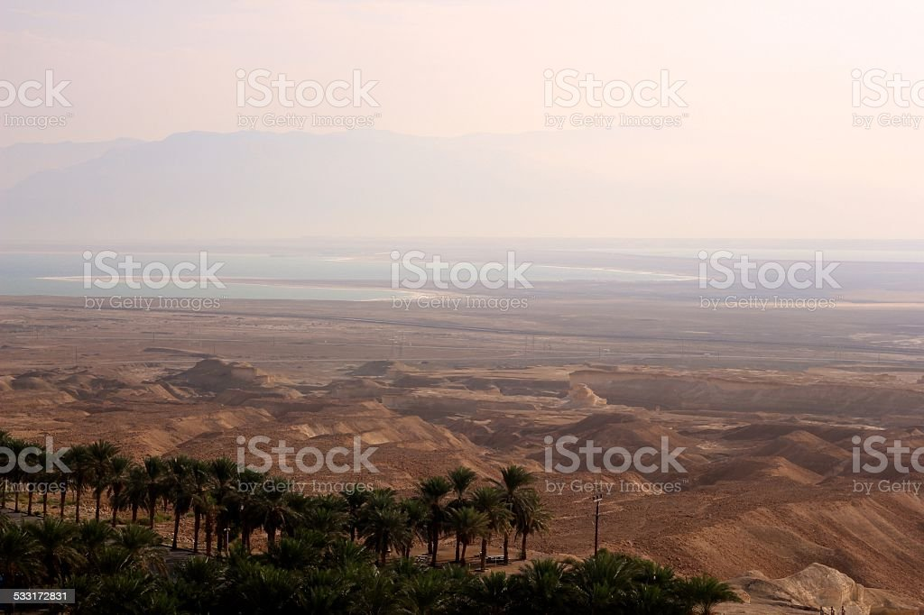 View from the Masada fortress in ISRAEL stock photo