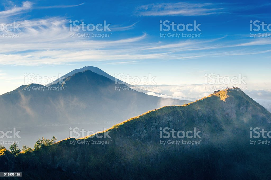 view from the Mount Batur at sunrise, Bali stock photo