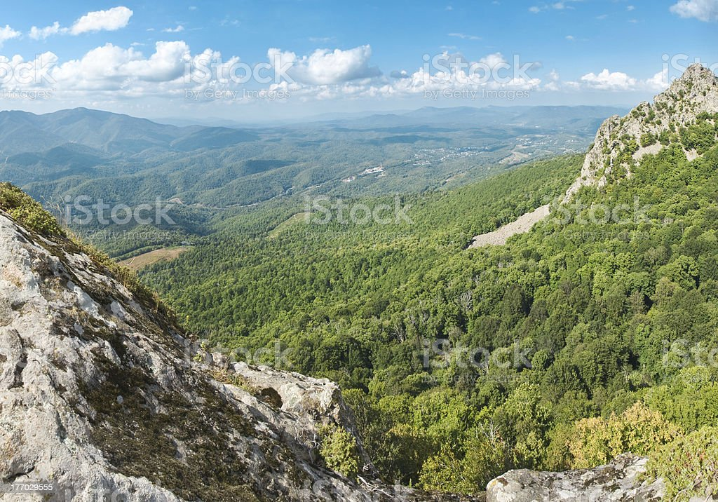 view from the mountain on green valley in sunny day royalty-free stock photo