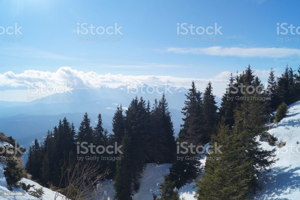 View from the mountain, Romania,Transylvania, Brasov, Poiana Brasov, Postavarul Mountains stock photo