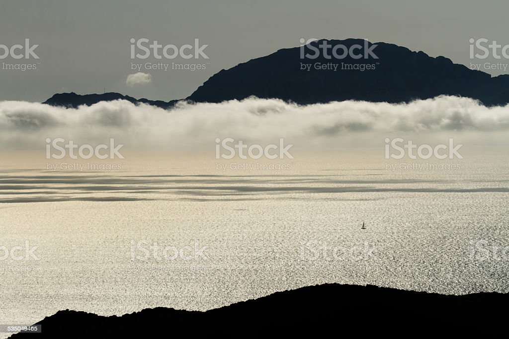 view from the mountains to the ocean and a yacht royalty-free stock photo