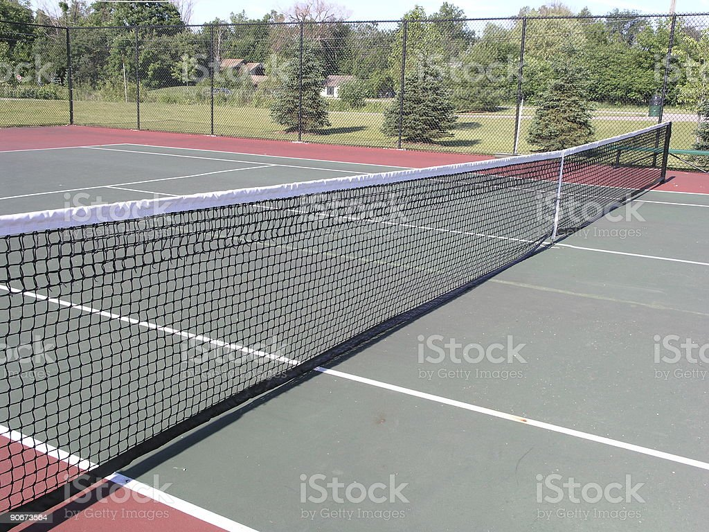 View from the net - tennis court royalty-free stock photo