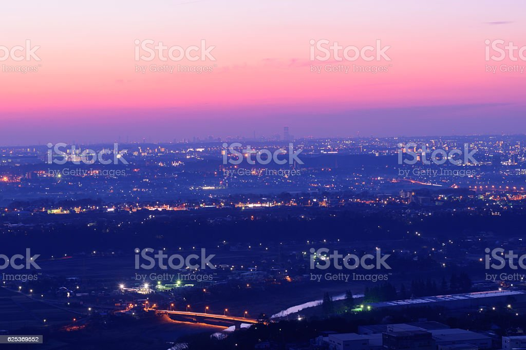 View from the Observatory of Mt.Tobioyama at dawn stock photo