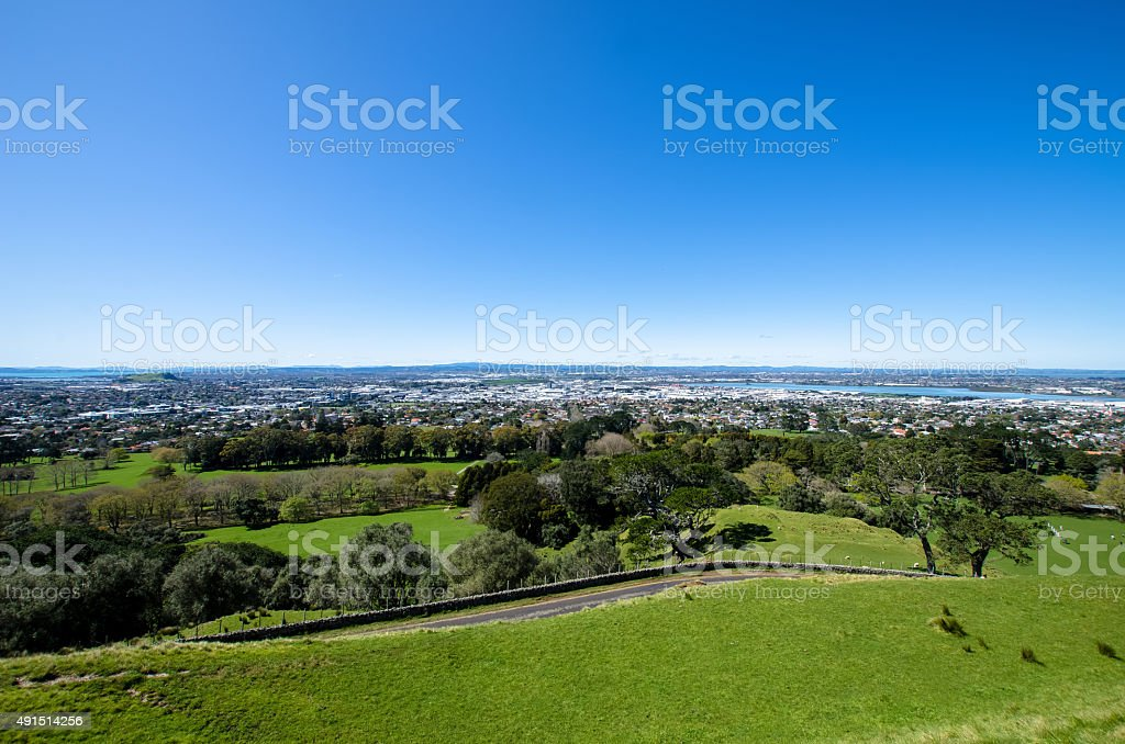 View from the One Tree Hill,Auckland New Zealand stock photo