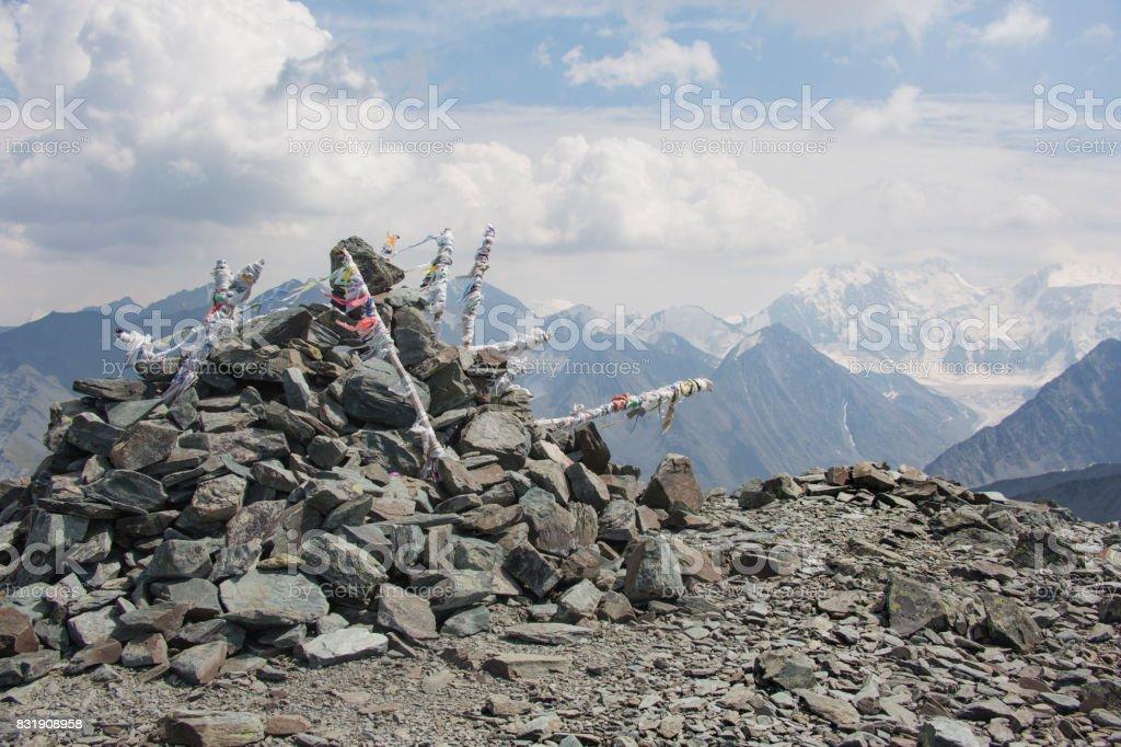 View from the pass Karatyurek. Belukha Mountain, Altai, Russia stock photo