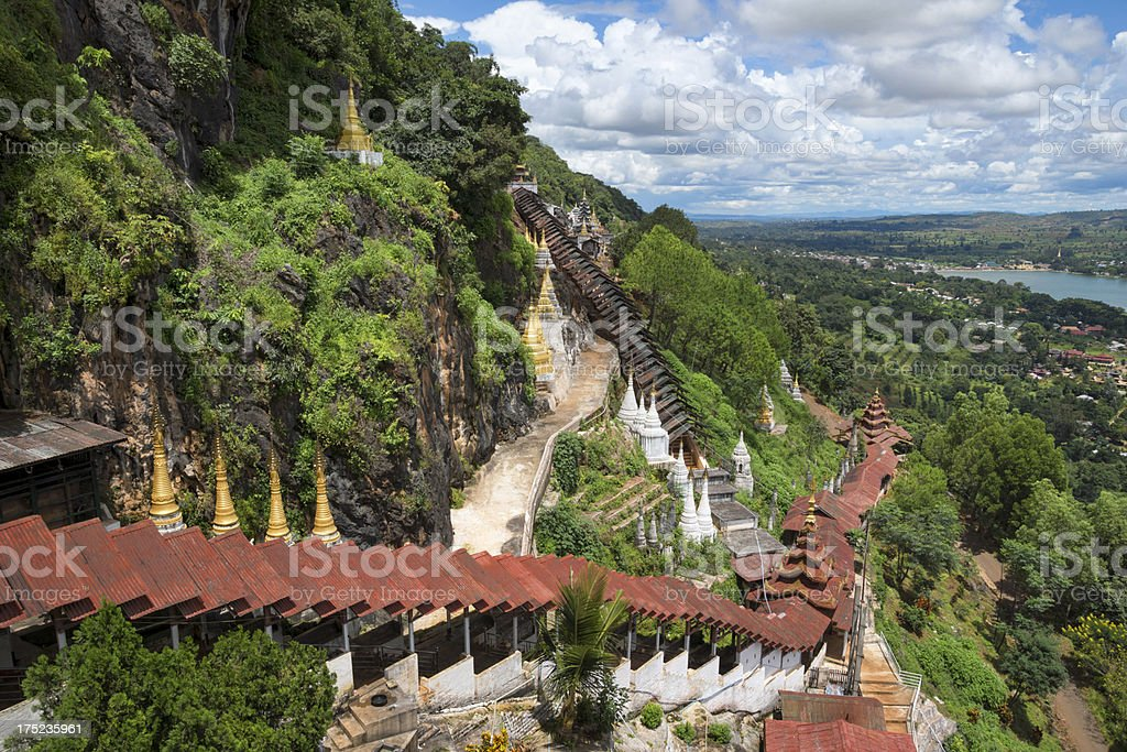 View from the Pindaya caves, plateau of Kalaw royalty-free stock photo