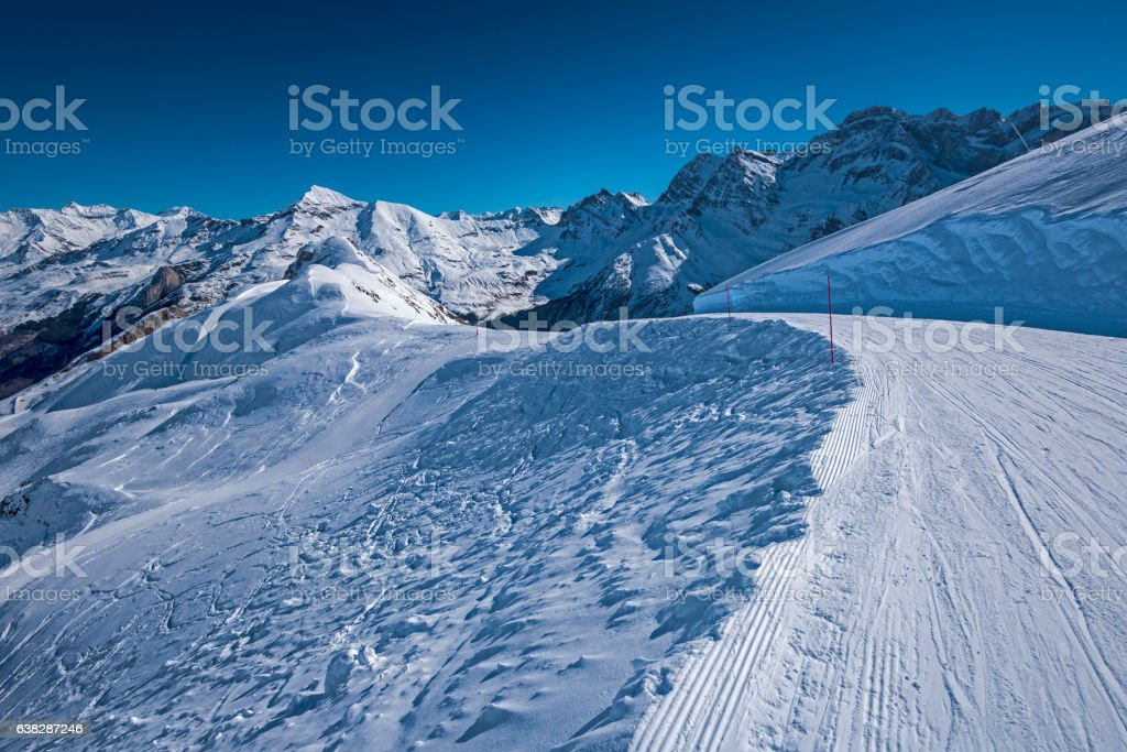 View from the piste of Gavarnie Gedre ski resort stock photo