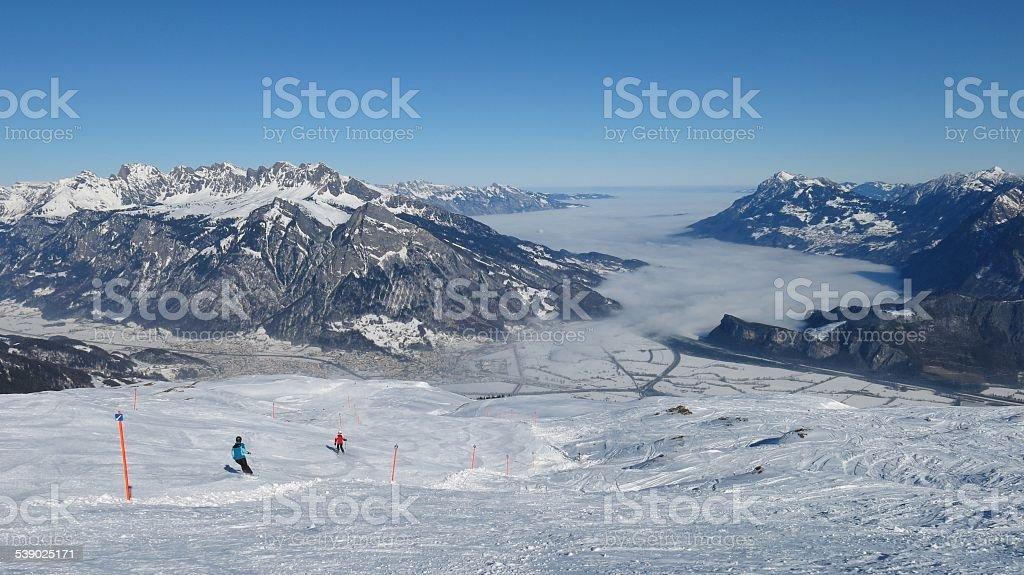 View from the Pizol ski area towards Sargans stock photo
