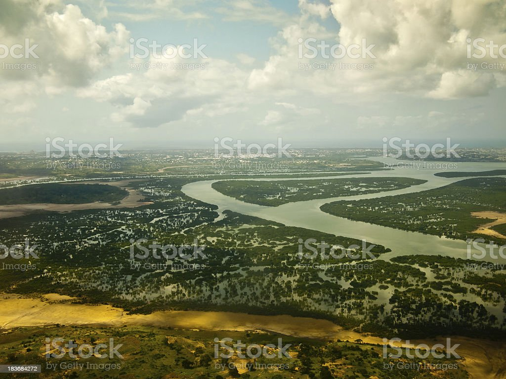 View from the plane on an African river stock photo