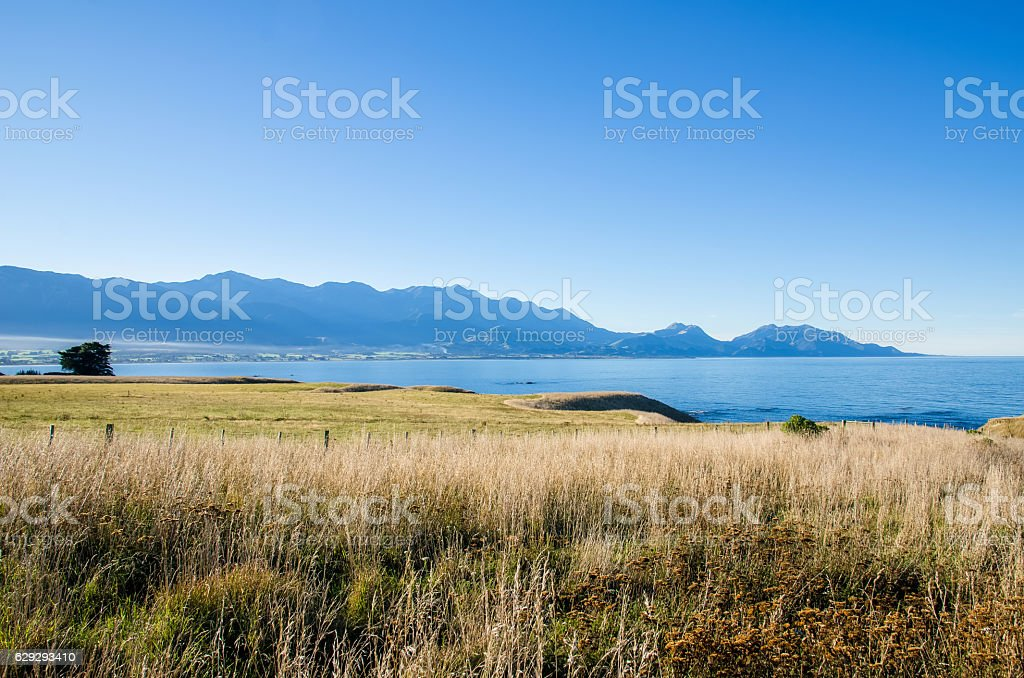 View from the Point Kean Viewpoint, Kaikoura New Zealand. stock photo