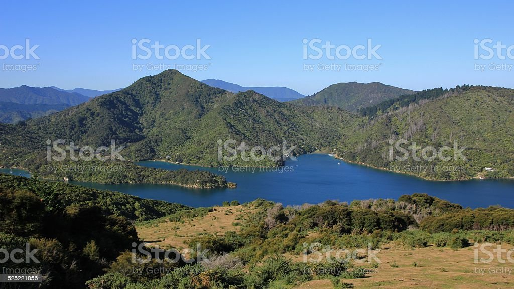 View from the Queen Charlotte Track, New Zealand stock photo