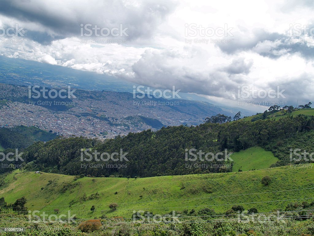 View from the Quito's TeleferiQo stock photo