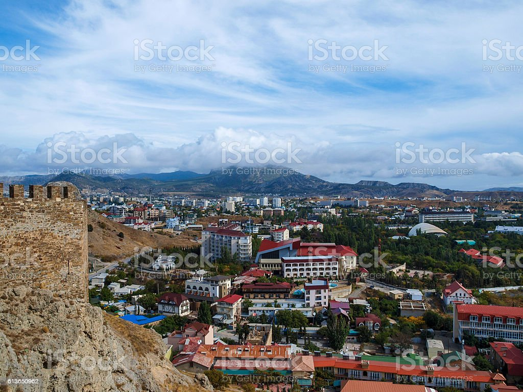 View from the ramparts of the ancient stock photo