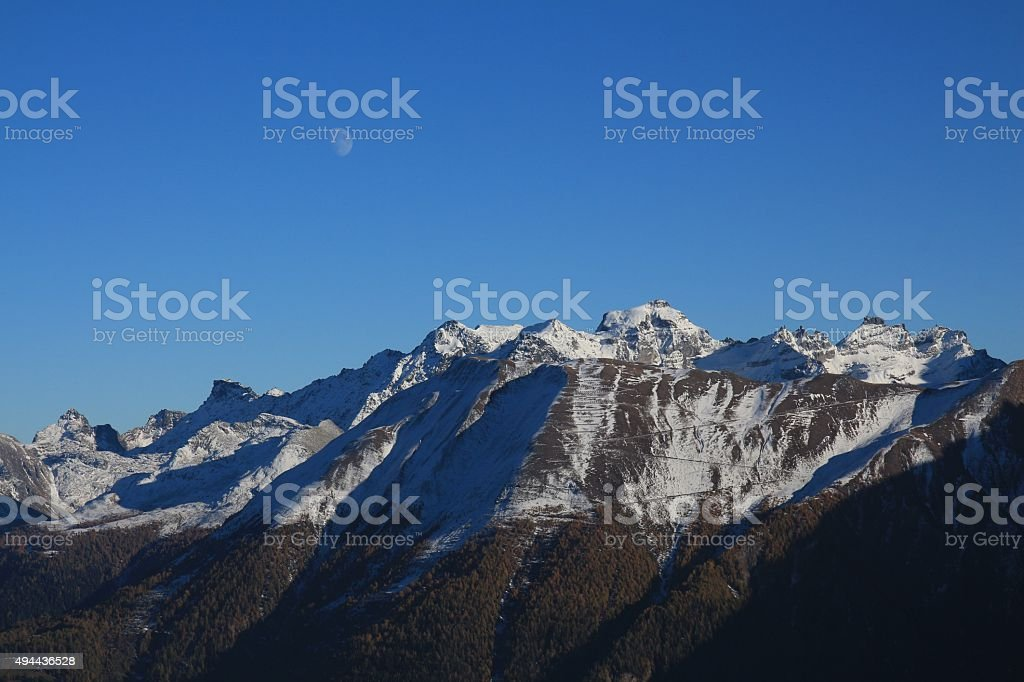 View from the Riederalp, evening scene stock photo