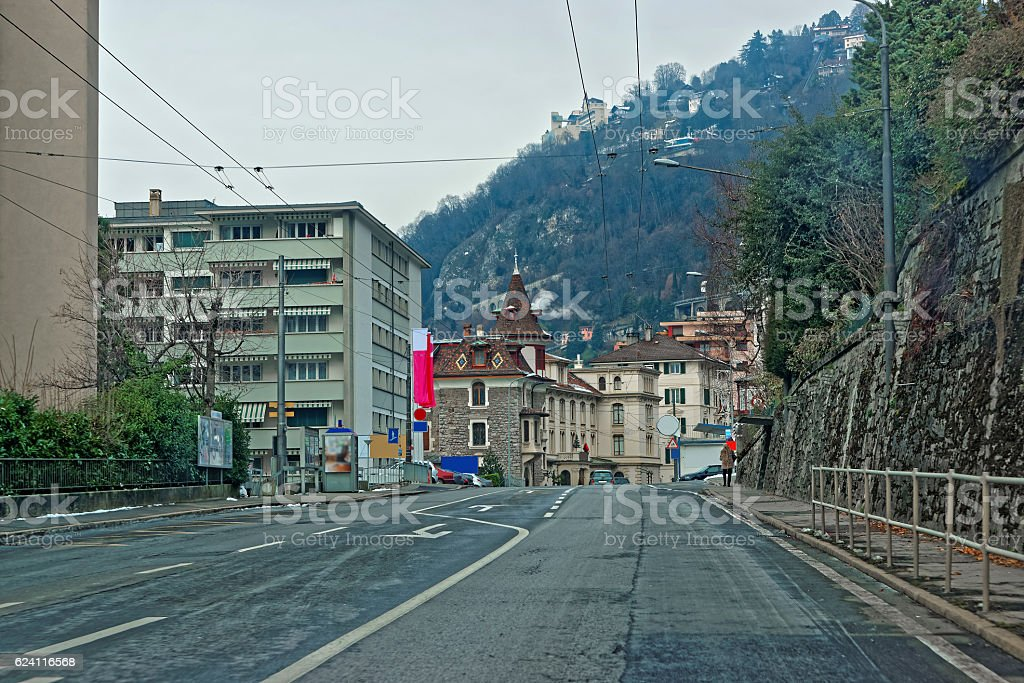View from the road to Montreux city in Switzerland stock photo