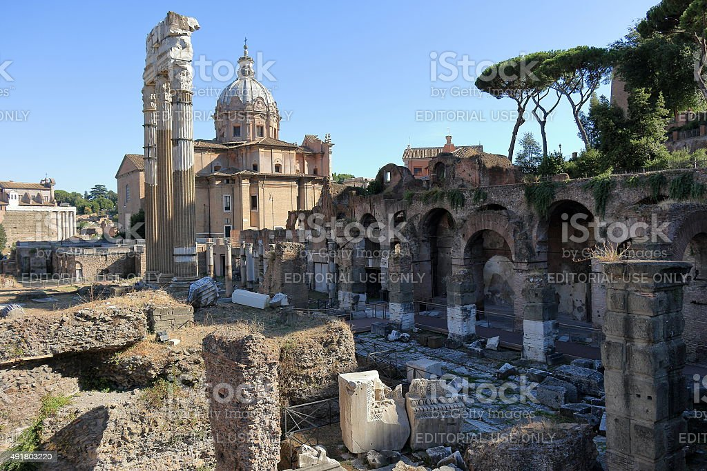 View from the Roman forum to the Church stock photo