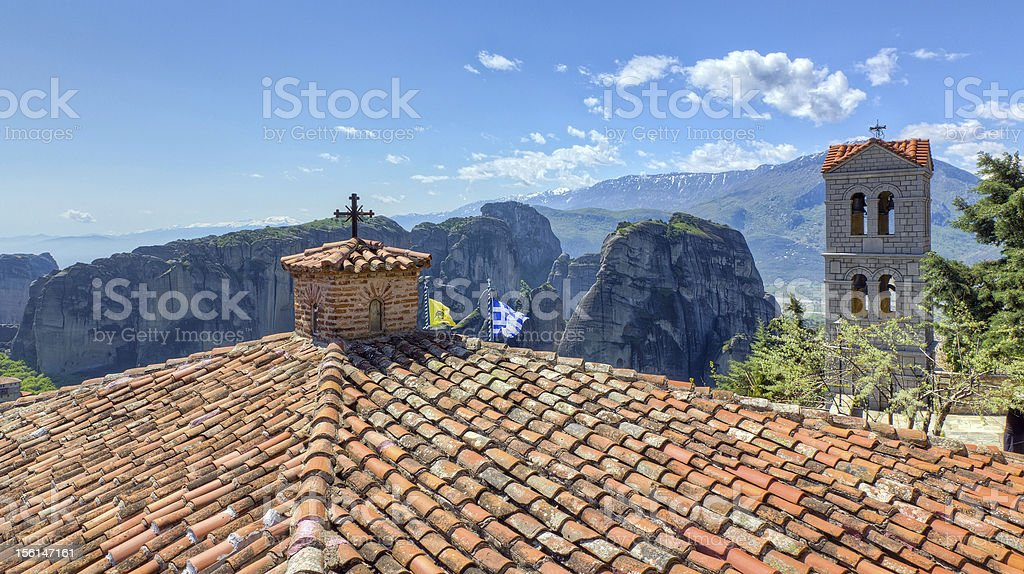 View from the roof of Varlaam monastery, Meteora royalty-free stock photo