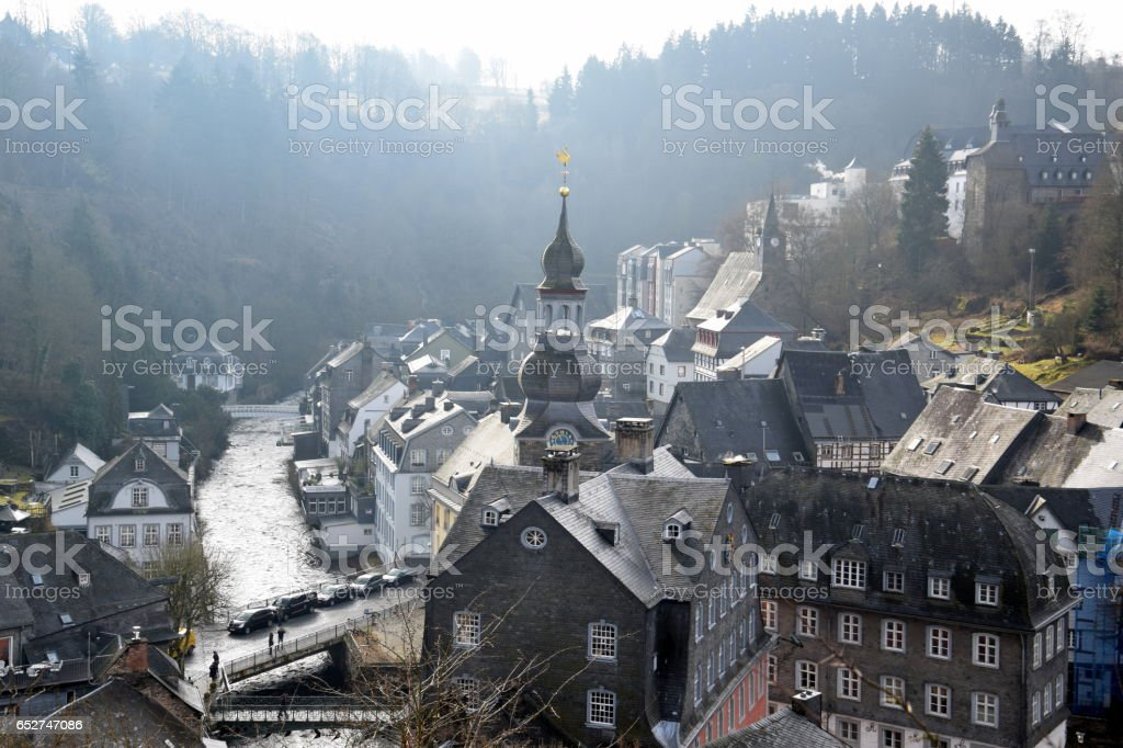 View from the rooftops in Monschau, Germany stock photo
