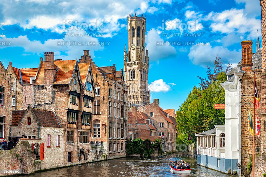 View from the Rozenhoedkaai in Bruges stock photo