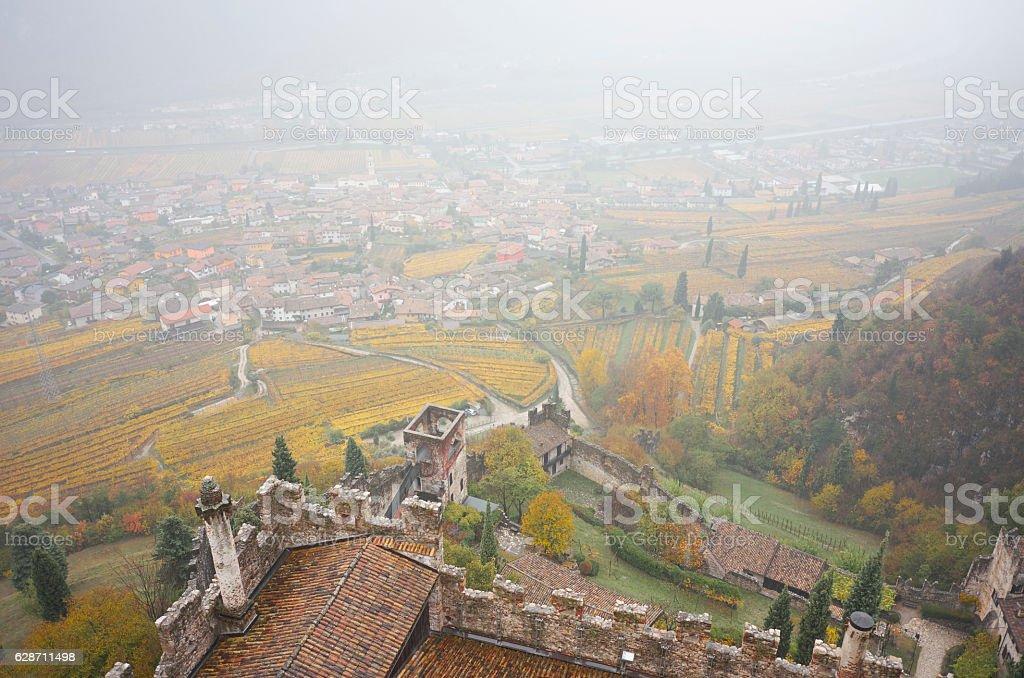 View from the ruin Castello di Avio in North Italy stock photo