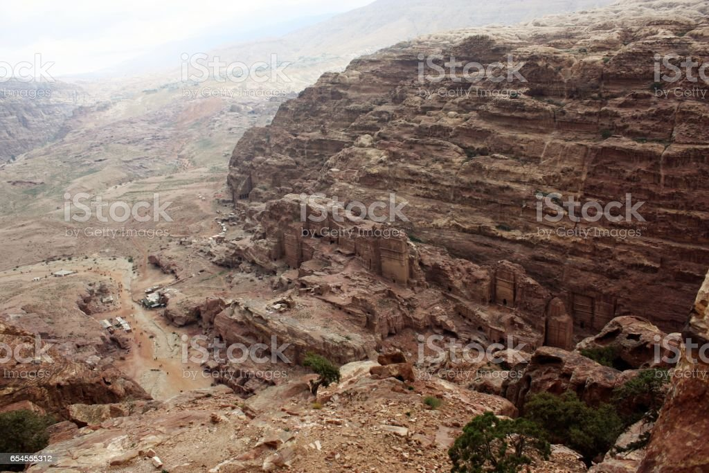 View from the sacrificial place in nabatean city of Petra, Jordan Middle East stock photo