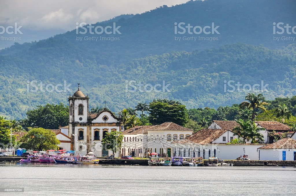 View from the sea in Paraty, Brazil stock photo