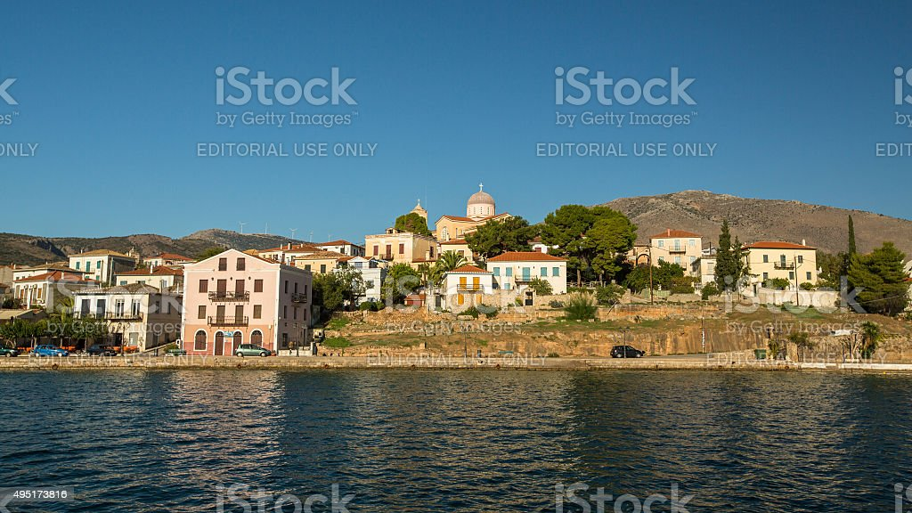 View from the sea of buildings and Ortodox temple. stock photo