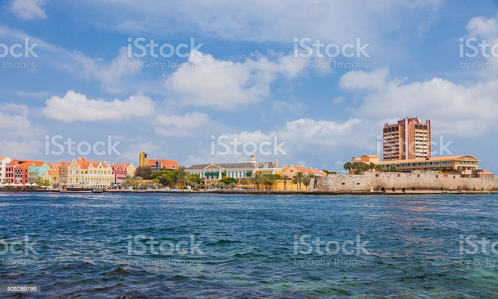 View from the sea on Willemstad - Curacao stock photo
