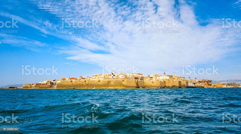 View from the sea to the ancient Akko stock photo