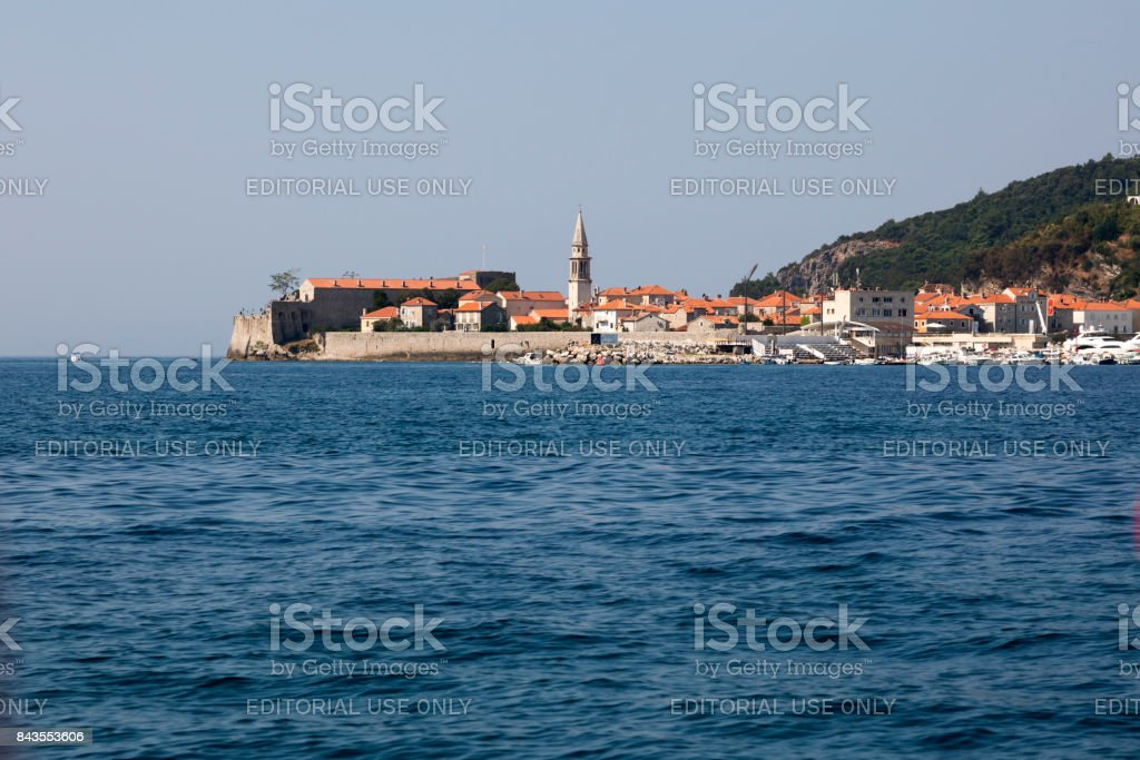 View from the sea to the old town of Budva, Montenegro stock photo
