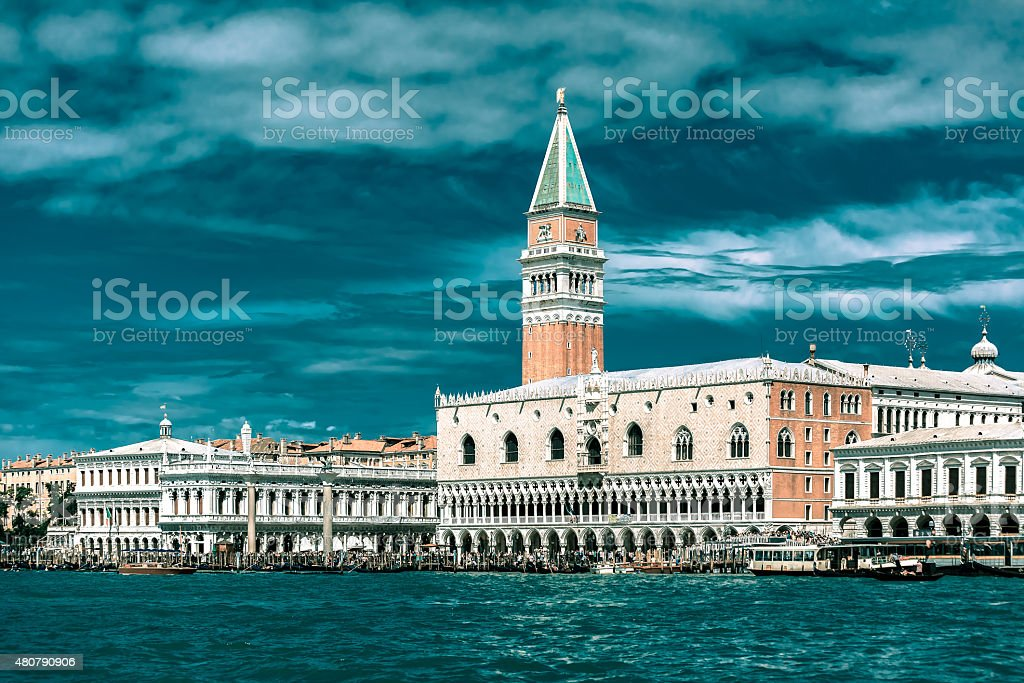 View from the sea to Venice in summer day, Italia stock photo