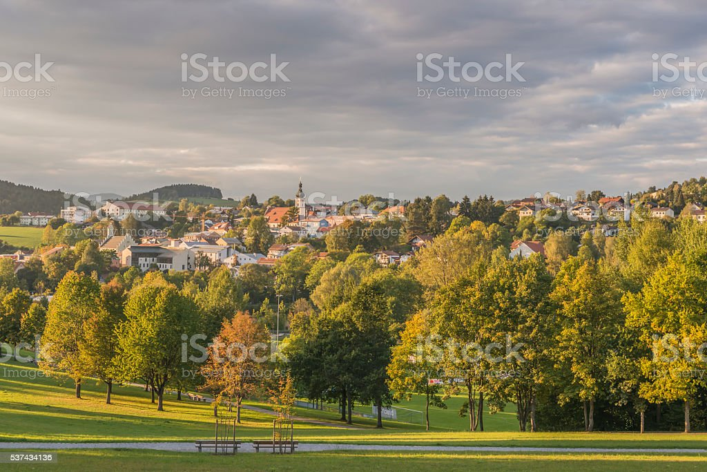 View from the spa garden to Grafenau in the Bavarian Forest stock photo