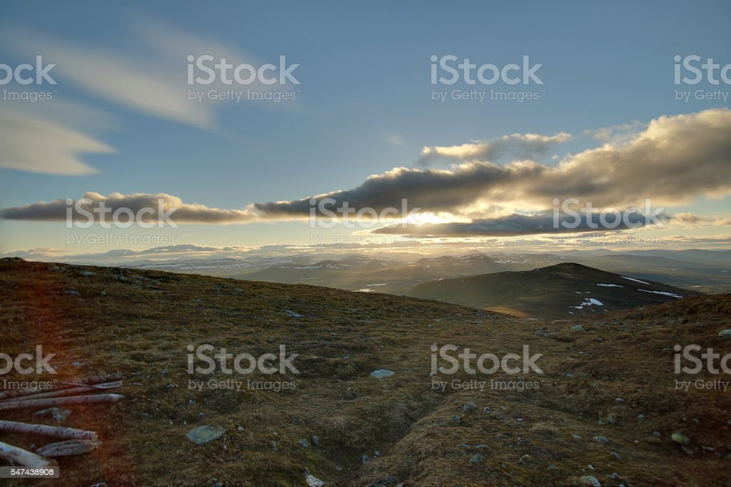 HDR view from the Swedish mountain Ansaett stock photo