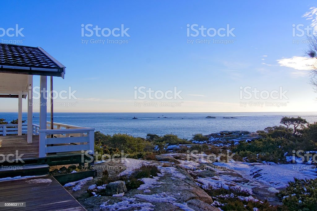 View from the terrace on North Sea stock photo