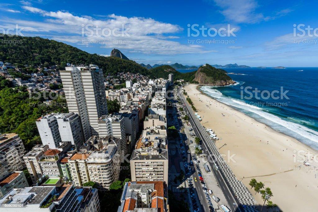 View from the top of a hotel building in Copacabana Beach to Leme Beach, Rio de Janeiro, Brazil stock photo
