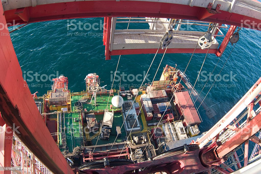 view from the top of an oil rig royalty-free stock photo