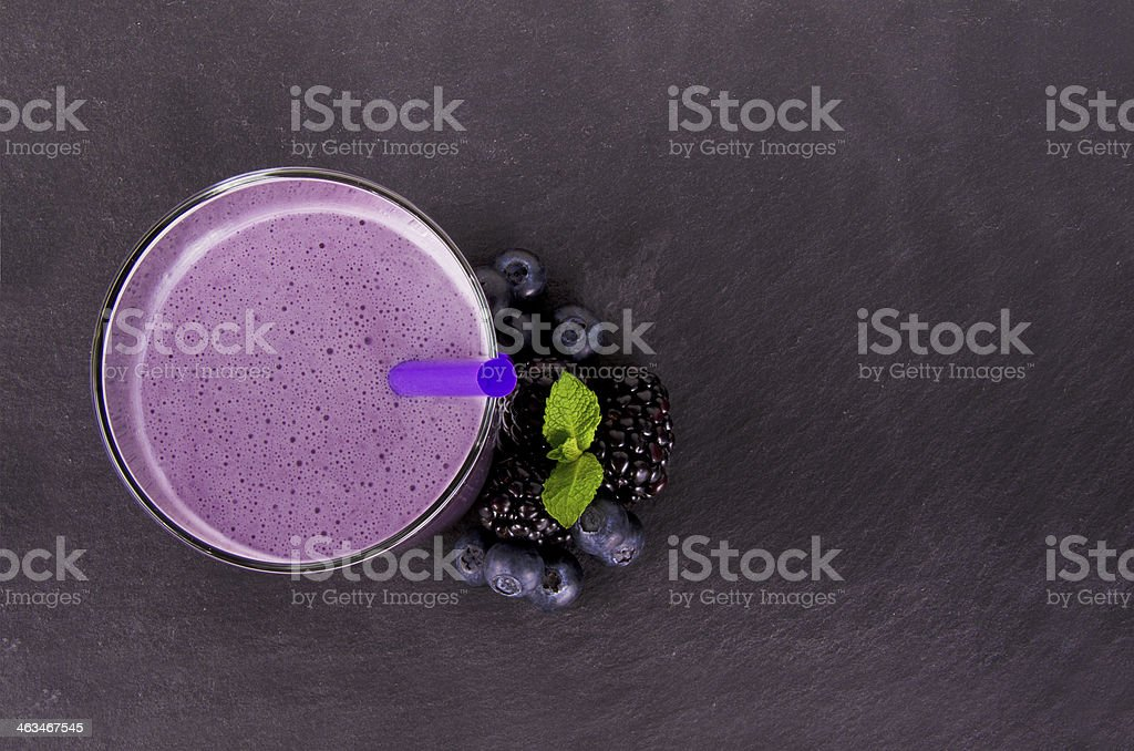 View from the top of blueberry smoothie stock photo